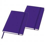Merkloos 2x stuks luxe schriften A5 formaat met paarse harde kaft