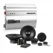 Auna Silverhammer Set de altavoces Hi-Fi para coche con amplificador de 2 canales