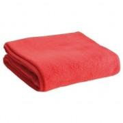Merkloos Fleece deken/plaid rood 120 x 150 cm