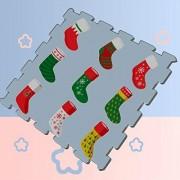 WAWSN Calcetines navideños en Color Rojo Alfombrillas de Espuma Baldosas de Juego Alfombrillas de Juego Rompecabezas 8 Piezas 60 X 60 X 1.2 cm Azulejos de Espuma