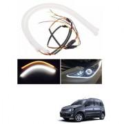 Auto Addict 2PCS 60cm (24 ) Car Headlight LED Tube Strip Flexible DRL Daytime Running Silica Gel Strip Light DC 12V Soft Tube Lamp Fancy Light (Yellow White) For Mahindra Quanto