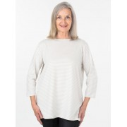 Seniors Choice Beige Stripe Top - Beige 12