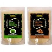Donnara Organics 100% Natural Neem Powder and Mulethi(Licorice) powder Combo pack of 2 of 150 gms(300 gms)