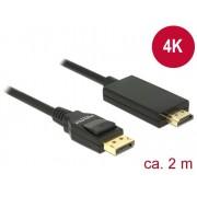 DeLock DisplayPort 1.2 male > High Speed HDMI-A male passive 4K 2m Cable Black 85317