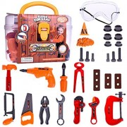 Construction Tool Set Toys Kids Pretend Play Toolbox Educational Learning Safe Tools Kit with Accessories in Sturdy Carry Case for Children | 29 pcs
