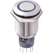 Întrerupător anti-vandalism 16 mm, iluminare 12V/inel, IP 67, 2 x ON/(ON), material alamă nichelată, buton plat, conexiune prin lipire, culoare led albastru