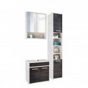 Badezimmer Set in Weiß und Dunkelbraun modern (3-teilig)