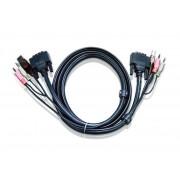 ATEN 2L-7D02UD :: DVI KVM кабел, Dual Link, DVI-D M + USB type A M + 2 Audio plugs >> DVI-D M + USB type B M + 2 Audio plugs, 1.8 м