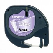 Лента Dymo Letratag DY12267, 12 мм, прозрачна пластмаса