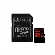 Card Kingston microSDHC 16GB Clasa 10 UHS-I U3 cu adaptor