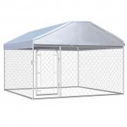 vidaXL Външна клетка за кучета с покрив, 200x200x135 см