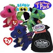 "TY Beanie Boos ""Dragons"" Saffire (Blue Dragon), Cinder (Green Dragon) & Darla (Pink Dragon) Gift Set Bundle with Bonus ""Matty's Toy Stop"" Storage Bag - 3 Pack"