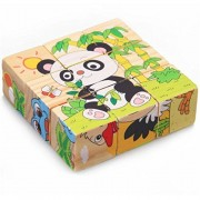 VolksRose 9 Pcs Wooden Cube Block Jigsaw Puzzles - Forest Animal Pattern Blocks Puzzle for Child 3 Year and Up