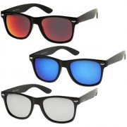 Ivonne Mirrored Medium Full Rim Black Plastic Wayfarer Sunglasses (Blue Gold & Silver) - Pack Of 3