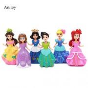Snow White Ariel Sofia Belle Cinderella Tiana Six Princesses Action Figure 6pcs/set 10cm