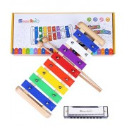 Wooden Xylophone Toddler Toys - Smarkids Prime 8 Note Metal Keys Glockenspiel and Harmonica Musical Instruments Set with Song Sheet Kids Educational Toys for Boys and Girls with Xylophone Mallets
