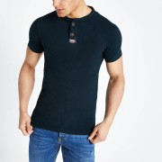 Superdry Mens Superdry Navy grandad collar T-shirt (S)