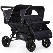 CHILDWHEELS Two-by-Two Quadruple Stroller Black CWTB2