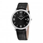 Festina - Solo tempo con cassa e bracciale in acciaio e pelle nera - F6806/2