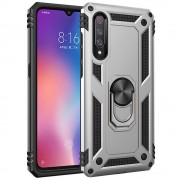 Silver Galaxy A70 Slim Armor 360 Rotating Metal Ring Stand Case Cover