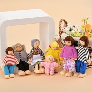 7-Piece Wooden Doll Happy Family Pretend Play Doll Mini People Figures for Baby Kids Girls
