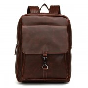 Men PU Leather Retro Minimalist Backpack Casual Travel Mochila Laptop Bag