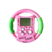 JXD Pink Cute Mini Kids Tetris Console Game Handheld Steering Wheel Style Electronic Toys