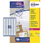 Avery UltraGrip Mini Address Labels Self Adhesive 38.1 x 21.2 mm White 100 Sheets of 65 Labels