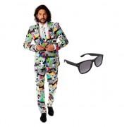 Opposuits Heren kostuum met televisie print maat 54 (2XL) met gratis zonne
