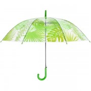 Átlátszó esernyő, trópusi levél mintás