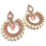 Pink Tilak Stone Pearl Polki Earrings