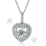 Ezüst nyaklánc,szív alakú táncoló szintetikus gyémánt medállal - 925 ezüst ékszer