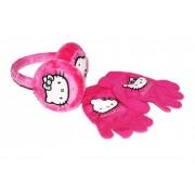 Set urechi+manusi roz inchis Hello Kitty2948