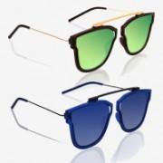 Knotyy Retro Square Sunglasses(Green, Blue)