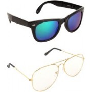 Pogo Fashion Club Wayfarer, Aviator Sunglasses(Green, Blue, Clear, Multicolor)
