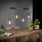 Zaloni Hanglamp Lampoon 4LxØ18 van 100 cm breed - Zilver