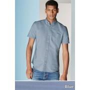 Mens Next Short Sleeve Oxford Shirt - Blue