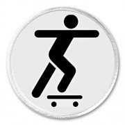 "Skateboarder Skateboarding Skateboard Symbol Sign 3"" Sew On Patch Black & White"