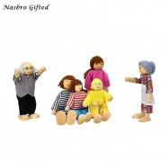 6 Dolls Cartoon Wooden House Family People Kids Children Pretend Play Gift Toy Free Shipping ,XL30