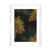 Dekoria Plakat Golden Leaves II, 40 x 50 cm, Ramka: Biała