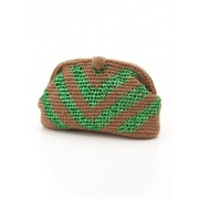 74%OFF Laugoa (ラウゴア) レディース 一つ一つ丁寧に編み上げられたニットにきらりとラメ糸がポイントのクラッチバッグ/Kei GR F