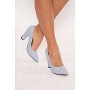 Pantofi albastru-deschis office cu toc gros cu varful usor ascutit din piele ecologica