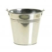 Merkloos Zinken emmertje/bloempot zilver 16 cm hoog
