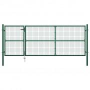 vidaXL Градинска порта, стомана, 350x125 см, зелена