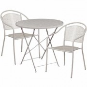 Flash Furniture 30Inch Round Metal Folding Patio Table Set with 2 Round Back Chairs - Light Gray, Model CO30RDF03CHR2SV