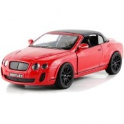 Emob 136 Scale Die Cast Metal Red Bentley Pull Back Car Toy with Openable Doors (Multicolor)