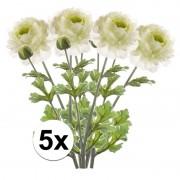 Bellatio flowers & plants 5x Wit/groene Ranonkel kunstbloemen tak 45 cm