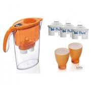 Pachet Cana filtranta Laica Portocaliu + 3 filtre + 2 pahare colorate