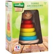Joc de stivuit din lemn pentru bebelusi turn cu cercuri colorate