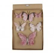 Merkloos 6x Kerstversiering vlinders op clip roze
